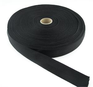 POLYPROPYLENE WEBBING LIGHT-WEIGHT HERRINGBONE 1-1/2 INCH-WIDE BLACK By-The-Yard