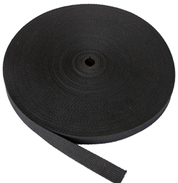 REGULAR-WEIGHT COTTON WEBBING 1-1/2 INCH-WIDE BLACK By-The-Roll