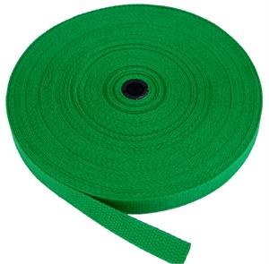 REGULAR-WEIGHT COTTON WEBBING 1 INCH-WIDE GREEN By-The-Roll