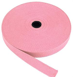 REGULAR-WEIGHT COTTON WEBBING 1 INCH-WIDE PINK By-The-Yard