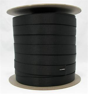 Mil-w-5625 Tubular Nylon Webbing 1 Inch-wide Black By-the-roll